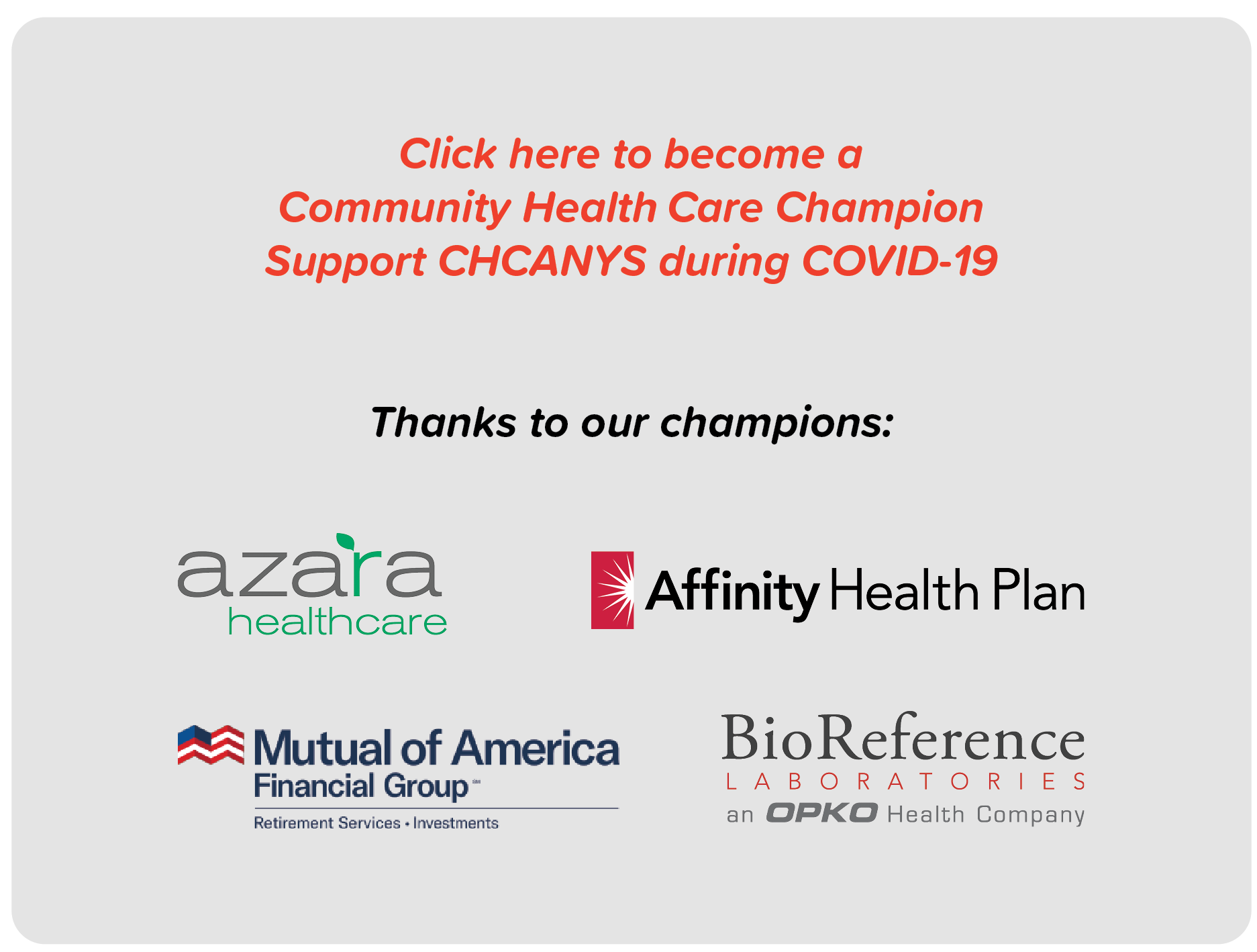 Click here to become a  Community Health Care Champion